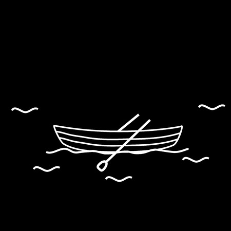 Boat boat two oars. Rescue or recreational watercraft Illustration