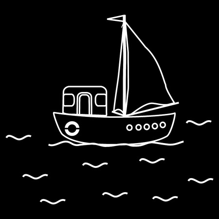 yachtsman: Motor boat ship sailboat. Travel cruise regatta Illustration