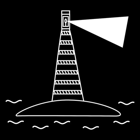 lighthouse beam: The old lighthouse sea navigation. The beam shines through the darkness Illustration
