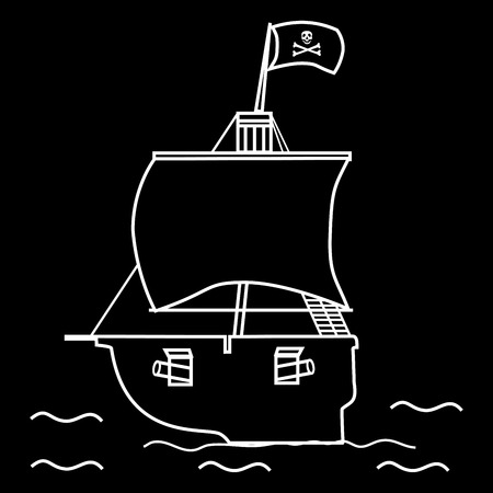 frigate: Pirate ship sailboat flag with a skull and crossbones. Illustration of pirates adventure