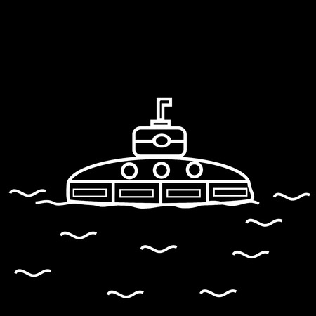 oceanography: Submarine black and white image of a small boat in the ocean