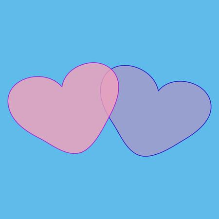 romantic: Two hearts love romantic Valentines day romantic background Illustration