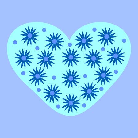 stelle blu: Blue stars heart romantic background winter cold flowers