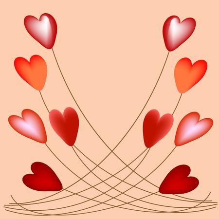romantic: Volumetric hearts on strings romantic balloons background