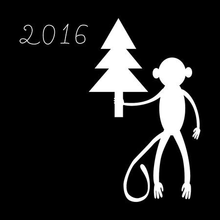 primacy: Monkey with a Christmas tree a symbol of 2016. Festive background