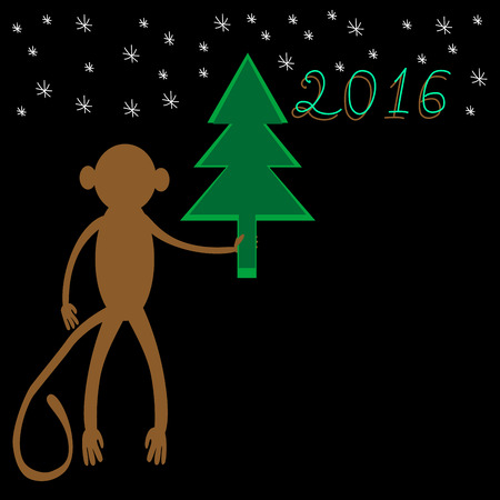 Monkey with a Christmas tree a symbol of 2016. Festive background