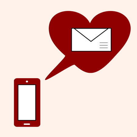acquaintance: Love gadget and SMS with heart. Romantic social network familiarity Illustration