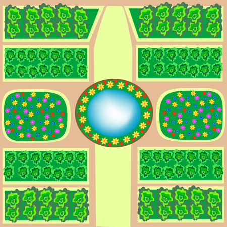 flower beds: Park with flower beds and a fountain abstract map Illustration