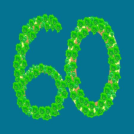 60: Figure sixty 60 anniversary celebration tropical island travel tourism vacation
