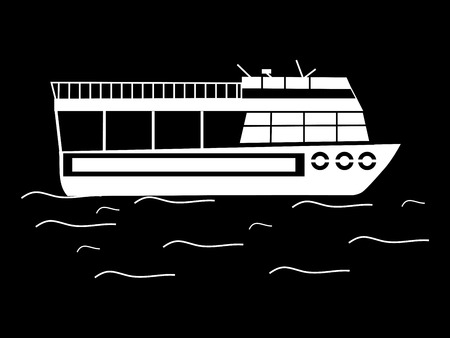 tour boats: Silhouette walking tour boats water retro transport