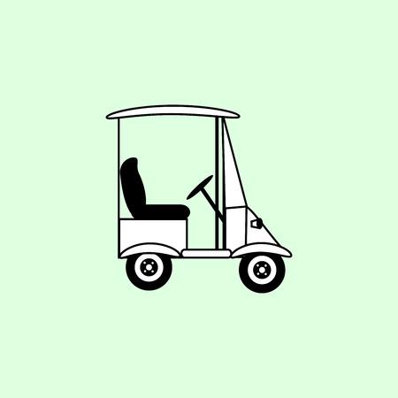 electric vehicle: Golf white car electric vehicle transport passengers icon symbol Illustration