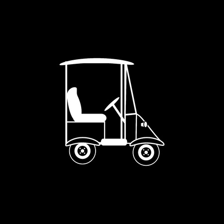 passengers: Golf black white car electric vehicle transport passengers icon symbol Illustration