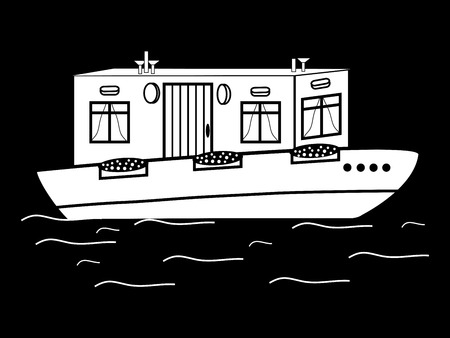 transport icon: river house white black water transport icon symbol