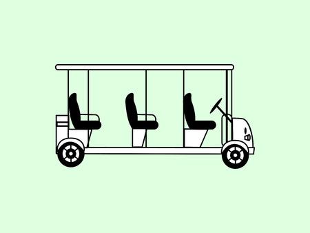 passengers: Golf white car several passengers electric car eco transportation icon