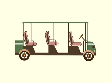 ar: Golf ccolor ar several passengers electric car eco transportation icon Illustration