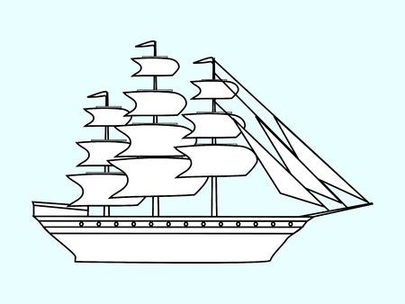 frigate: Sailing white ship frigate retro transport sea ocean cruise. Adventure travel Illustration