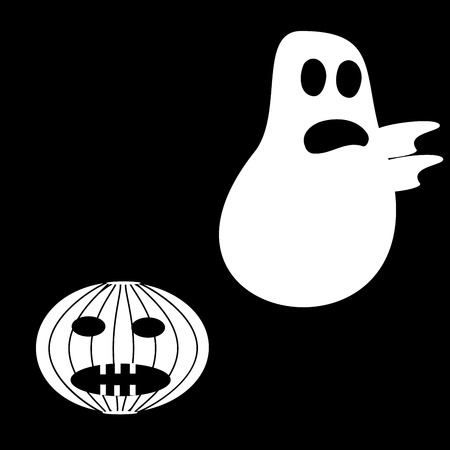 Funny Ghost Halloween scary pumpkin fright black white character humor horror fear