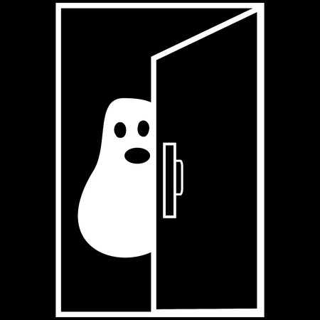 fear: Funny Ghost Halloween nightmare behind the door black white character humor horror fear