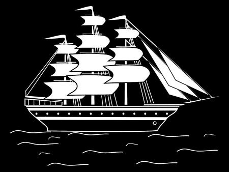 frigate: Sailing black white silhouette ship frigate retro transport sea ocean cruise. Adventure travel Illustration