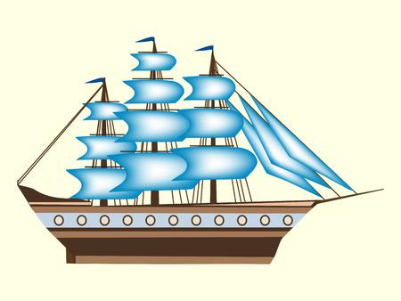frigate: Sailing color ship frigate retro transport sea ocean cruise. Adventure travel
