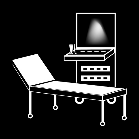 ultrasound: Ultrasound machine medical technology black white silhouette graphics
