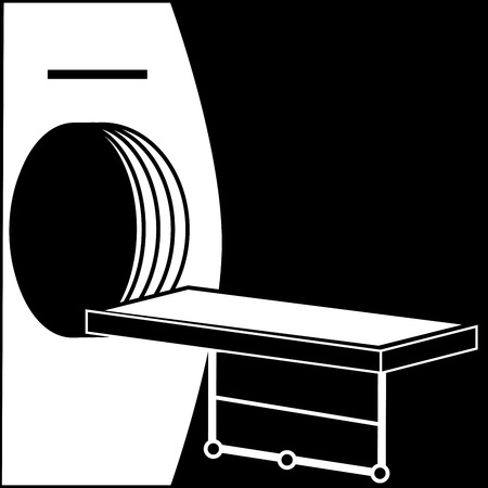 computer tomograph medical technology black white silhouette graphics