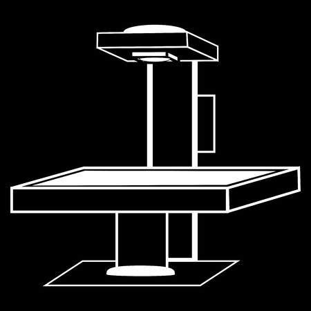 medical technology: Table x-ray medical technology black white silhouette graphics