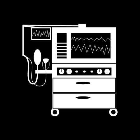 medical technology: Apparatus for lung ventilation medical technology black white silhouette graphics Illustration