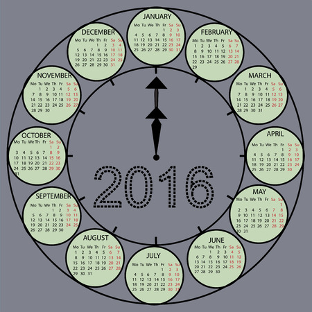 watch new year: The watch dial hands. Simple 2015 year vector calendar design. Week starts with monday