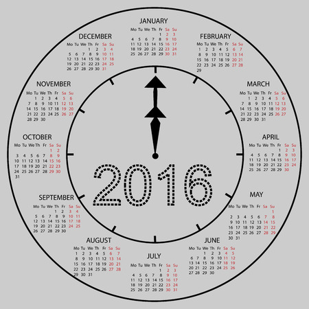 watch new year: watch dial calendar 2016 new year. Week starts from Monday Illustration