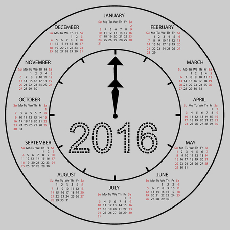 watch new year: watch dial calendar 2016 new year. Week starts from Sunday