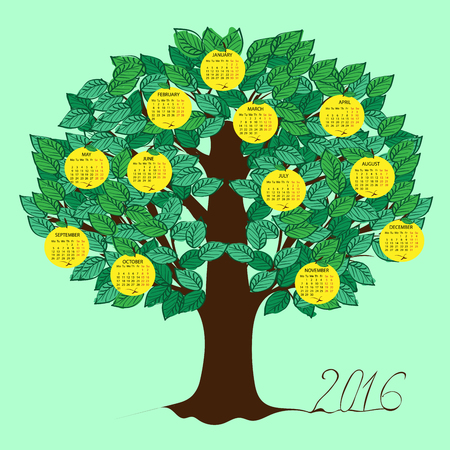 dates fruit: Apple calendar 2016 new year. Week starts from Monday