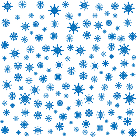 blizzards: blue snowflakes Christmas seamless vector white background