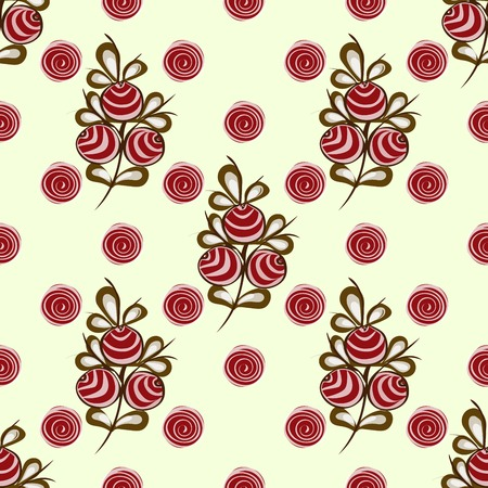 red berries: Red berries on the branches seamless pattern vector background Illustration