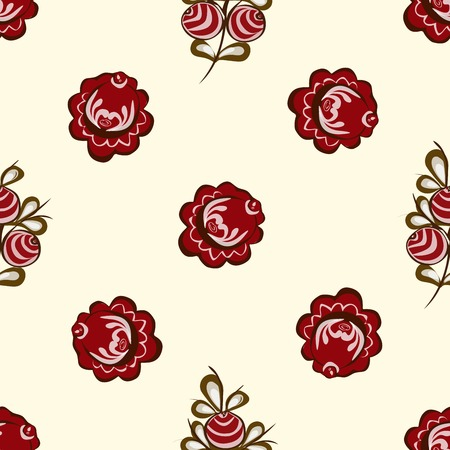 vector background: Red berries on the branches seamless pattern vector background.