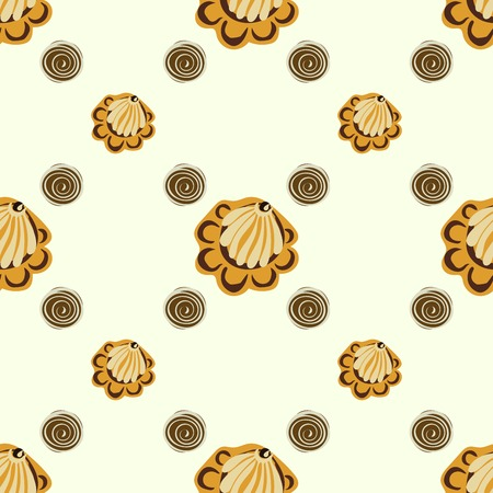 vector background: Yellow seashells, or flowers seamless pattern vector background. Spiral spot berries