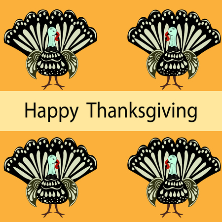vector background: Happy Thanksgiving Turkey holiday autumn vector background