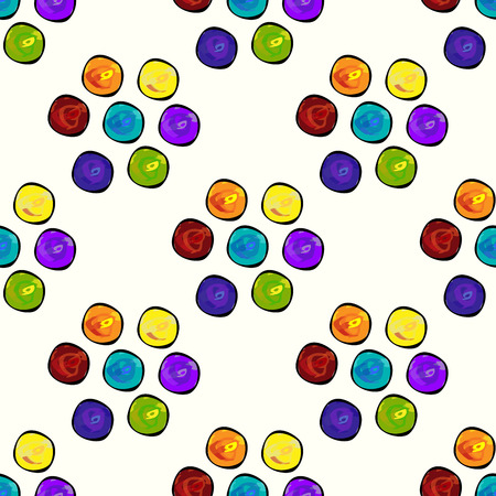 vector pattern: Colorful circles seamless vector pattern background. Green red yellow purple orange