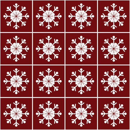 vector pattern: Christmas snowflakes on red background seamless pattern vector pattern