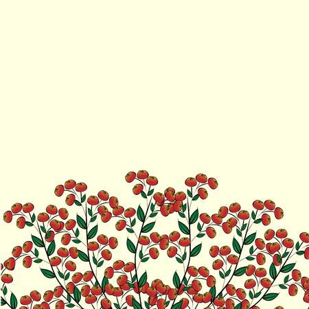 natural color: Berry Bush red Clusterberry natural vector background Illustration