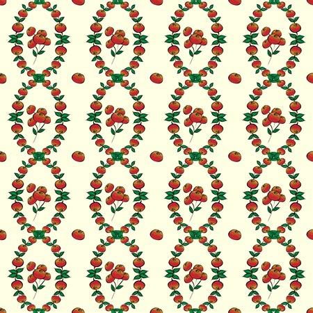 cranberries: Red berries seamless vector pattern background. Lingonberries or cranberries