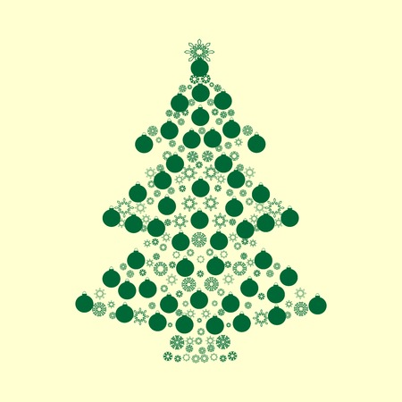 vector background: Spruce green Christmas balls holiday vector background