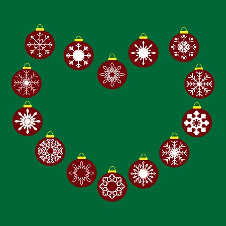 vector background: Red Christmas balls with snowflakes seamless pattern vector background
