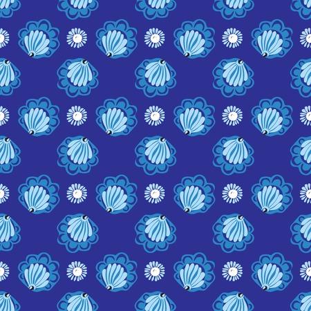 patrones de flores: Flores blancas sobre fondo azul patrón transparente. O conchas en el agua azul