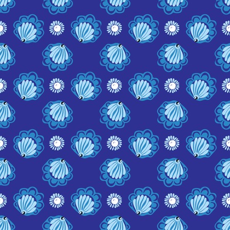 shoreline: White flowers on blue background seamless pattern. Or shells on blue water