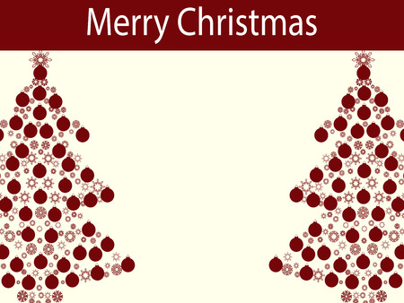 vector background: Merry Christmas balls tree garland. Holiday tree vector background red white