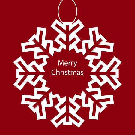 holiday background: Merry Christmas snowflake holiday background. White message on red background