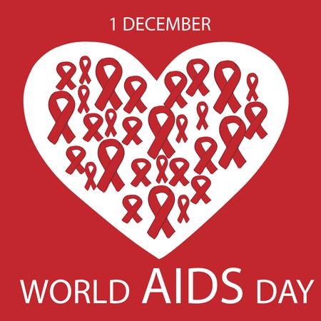 Mondiale du sida coeur de jour de ruban rouge Vecteurs