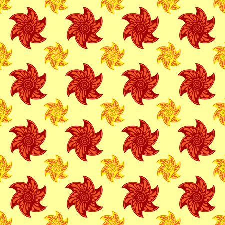 autumn flowers: Red and orange autumn flowers seamless pattern