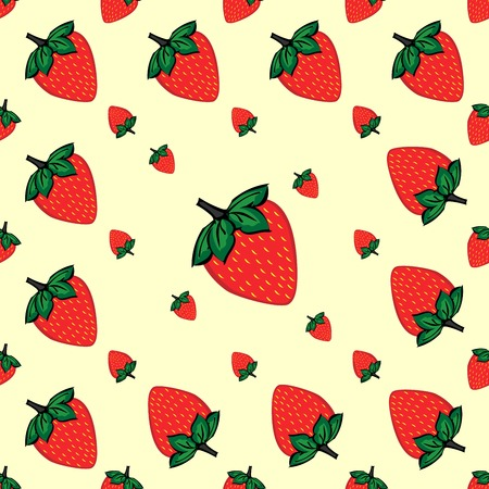red berries: Red berries strawberry strawberry natural seamless pattern vector background